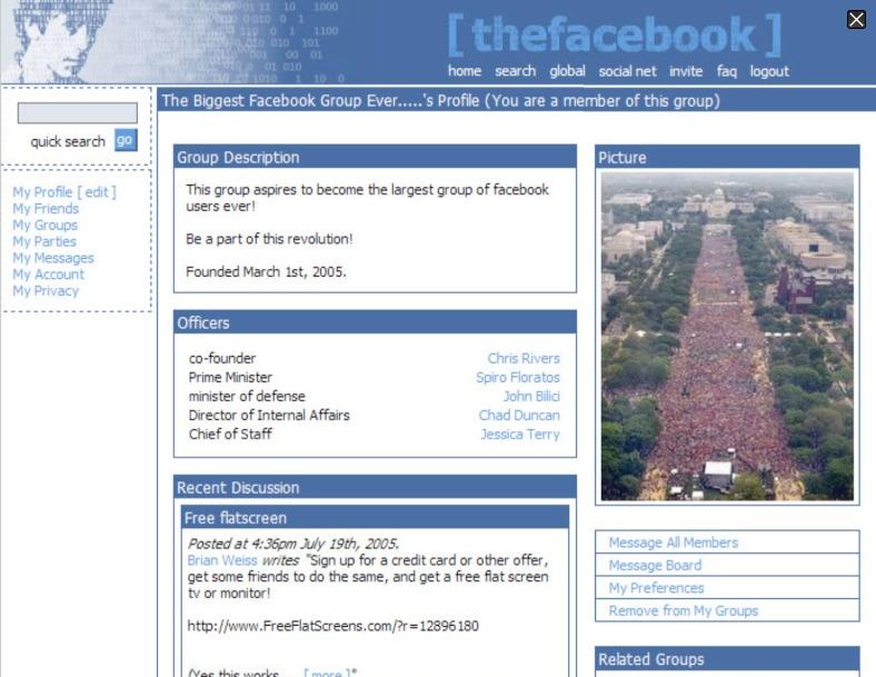 Facebook för tio år sedan. Bild lånad från Dagens Media